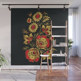 Golden russian folk Wall Mural