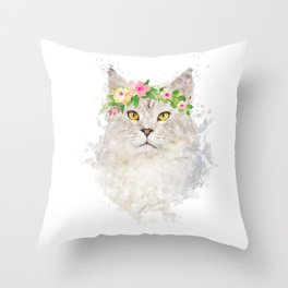 Boho cat portrait with flower crown Throw Pillow