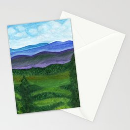 View from a mountain slope to distant mountains and forests Stationery Cards