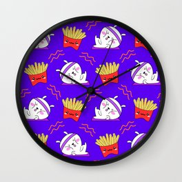 Cute sweet adorable Kawaii fitness bunnies exercising on a yoga mat, yummy happy funny French fries blue pattern design. Workout and comfort food. Wall Clock