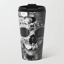 Garden Skull Dark B&W Metal Travel Mug