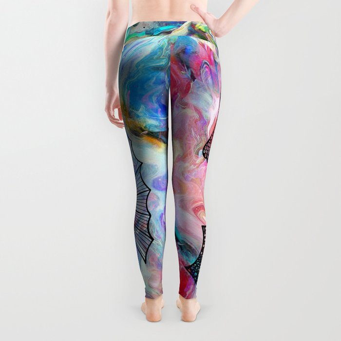 Drawn Seahorse on Colors Leggings