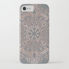 Mandala Rose Gold Pink Shimmer on Soft Gray Slim Case iPhone 7