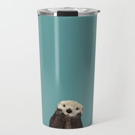 Cute Sea Otter on Teal Solid. Minimalist. Costal. Adorable. Travel Mug