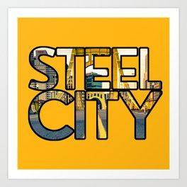 Pittsburgh Steel City Skyline Bridge Architecture Gold Text Art Print