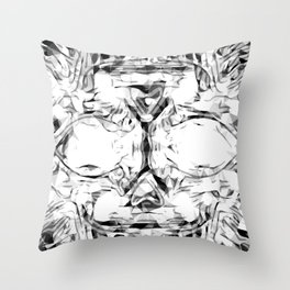 psychedelic skull art geometric triangle abstract pattern in black and white Throw Pillow