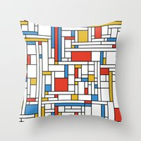 fibonacci Throw Pillows featuring Mondrian meets Fibonacci by Studio Fibonacci