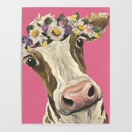 Cute Cow Art, Colorful Flower Crown Cow Art Poster