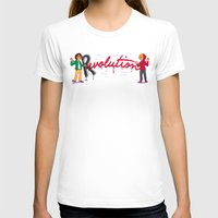 enjolras T-shirts featuring Revolution With A Captial R by juanjoltaire