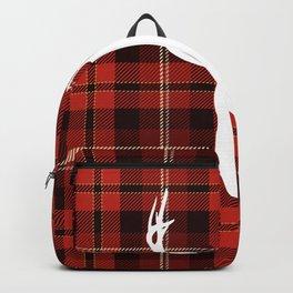 Buffalo Plaid Cottage Art Whitetail Deer Design Backpack
