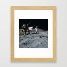 Apollo 16 - Astronaut Moon Jump Framed Art Print