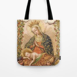 The Virgin Adoring the Christ Child with Two Saints Tote Bag