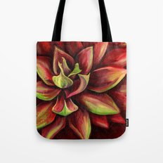 Red Succulent Cactus, Blue Flame Agave Tote Bag