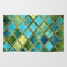 Moroccan Quatrafoil Pattern, Vintage Stained Glass, Blue, Green and Gold Rug