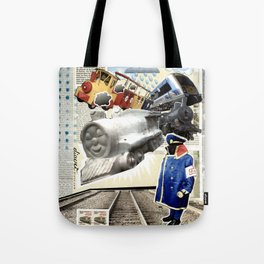 COLLAGE: Trains Tote Bag