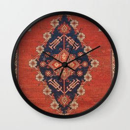 Southwest Tuscan Shapes I // 18th Century Aged Dark Blue Redish Yellow Colorful Ornate Rug Pattern Wall Clock