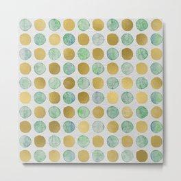Gold and Teal Polka Dots Metal Print