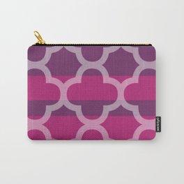 Plum Raspberry Quatrefoil Carry-All Pouch