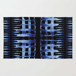 "Black and Blue Watercolor Pattern ""Cross Hatch"" Rug"