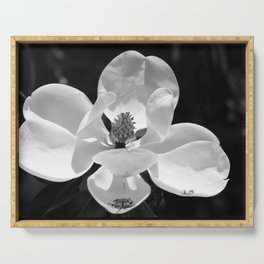Magnolia In Black And White Serving Tray