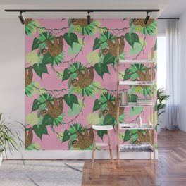 Sloth - Green on Pink Wall Mural