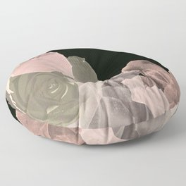 Blush Abstract Roses on Blackground Floor Pillow