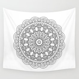 black&white mandala with spiral Wall Tapestry