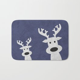 Christmas reindeer blue marble Bath Mat