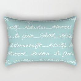 Feminist Book Author Surname Hand Written Calligraphy Lettering Pattern - Blue Rectangular Pillow