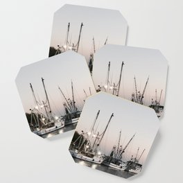 Fishing Boats on the Water at Sunset Coaster