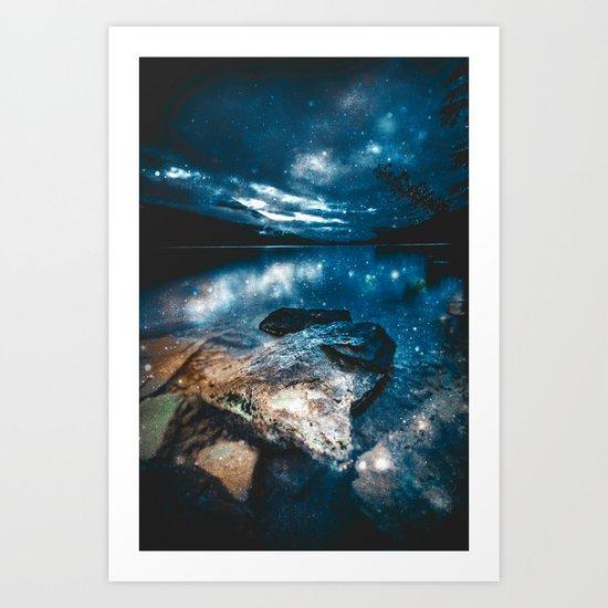 Magical Mountain Lake Teal Blue Brown Art Print