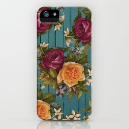 Vintage green wood coral burgundy roses floral iPhone Case