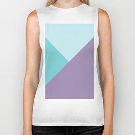 Geometric abstract teal aqua purple color block pattern Biker Tank