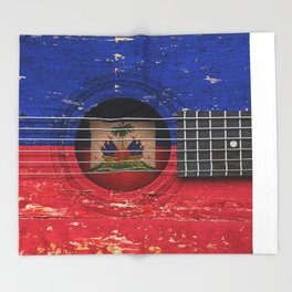 Old Vintage Acoustic Guitar with Haitian Flag Throw Blanket