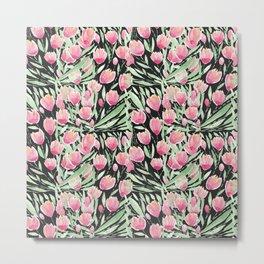 Artsy Pink Green Black Tulips Floral Watercolor Metal Print