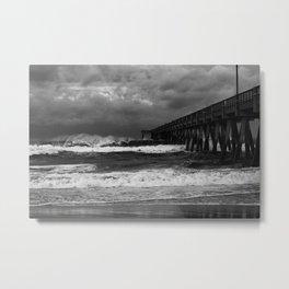 Navarre Pier in Stormy Sea Metal Print