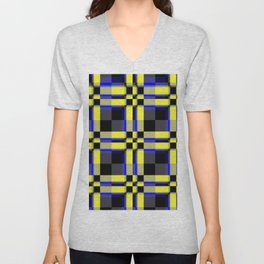 pattern jellow blue black Unisex V-Neck
