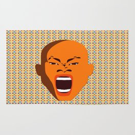 orange color male head screaming face pattern digital art zolliophone Rug
