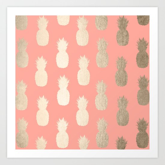 Gold Pineapples on Coral Pink Art Print