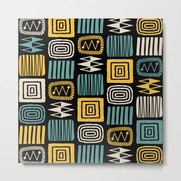 Retro Mid Century Modern Check Pattern 219 Metal Print