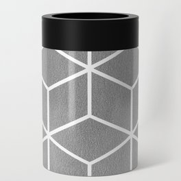 Light Grey and White - Geometric Textured Cube Design Can Cooler