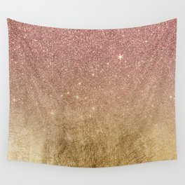 Pink Rose Gold Glitter and Gold Foil Mesh Wall Tapestry