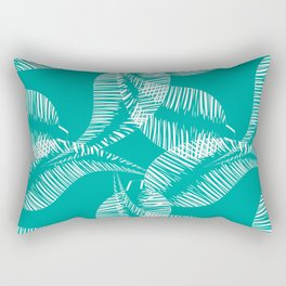 Pattern of white feathers and leaves on azure background. Rectangular Pillow