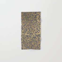 Faux gold foil abstract geometric on grey concrete cement Hand & Bath Towel