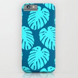 Aqua and Cerulean Blue Tropical Palm Leaves Pattern iPhone Case