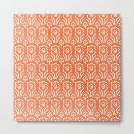 Garden Flowers Pattern Orange Metal Print