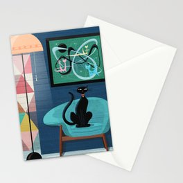 Creature Comforts Mid-Century Interior With Black Cat Stationery Cards