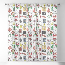 Super Mario Pattern Color Sheer Curtain