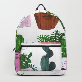 Planter Faces in White Woodgrain Backpack