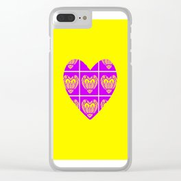 Purple and Yellow Patterns and a Heart Clear iPhone Case